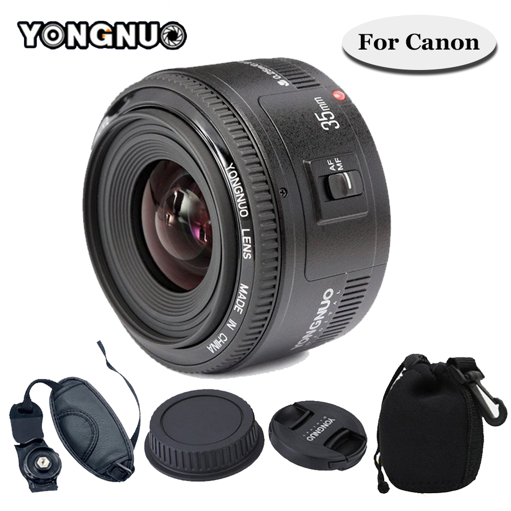 For Canon 6d 60d 5d mark iii 550d 1100d 650 YONGNUO YN35mm YONGNUO 35mm F/2 Lens Wide-angle Large Aperture Fixed Auto Focus Lens m42 chip adapter af iii confirmation ring for canon eos ef 60d 550d 7d 5d 1100d