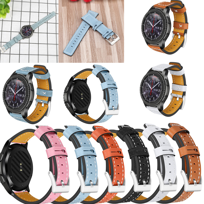 ASHEI Watchbands For Samsung Gear S3 frontier classic Band Leather Gear s3 Strap Watch Band Strap 22mm Genuine Leather maikes vintage watchbands watch accessories cow leather watch band 22 24 26mm watch strap for panerai or black samsung gear s3