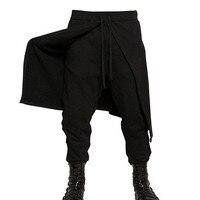 2017 New Arrival Cool Mens Gothic Punk Style Harem Pants Black Hip Hop Wear Skinny Pants