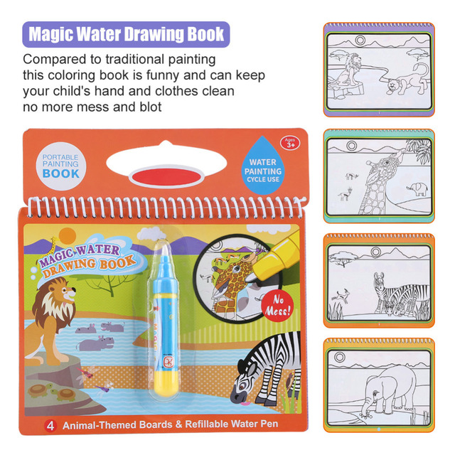 Baby Magic Water Coloring Pens Drawing Coloring Book Pen Animals ...