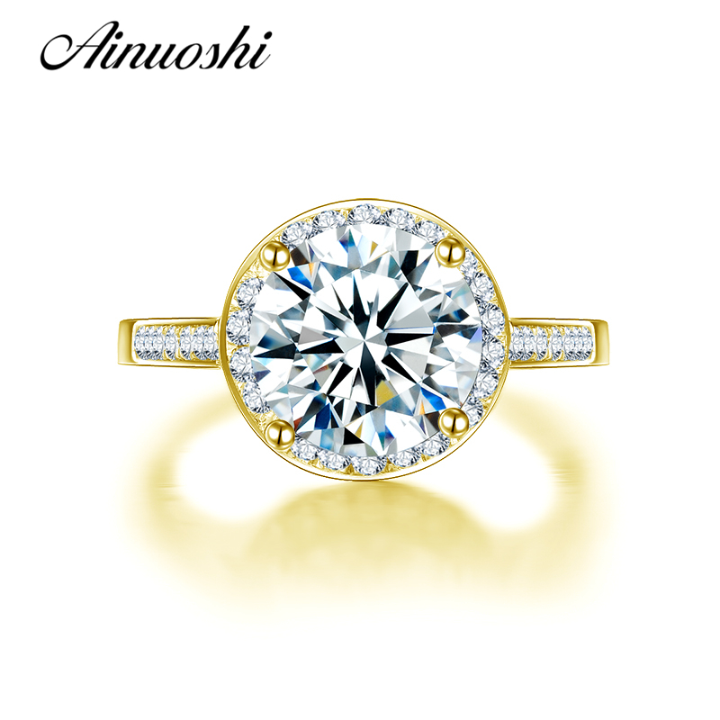 AINUOSHI 10k Solid Yellow Gold Women Wedding Ring Romantic Lovers Proposal Bagues Joaillerie 2.65 ct Simulated Diamond Halo RingAINUOSHI 10k Solid Yellow Gold Women Wedding Ring Romantic Lovers Proposal Bagues Joaillerie 2.65 ct Simulated Diamond Halo Ring