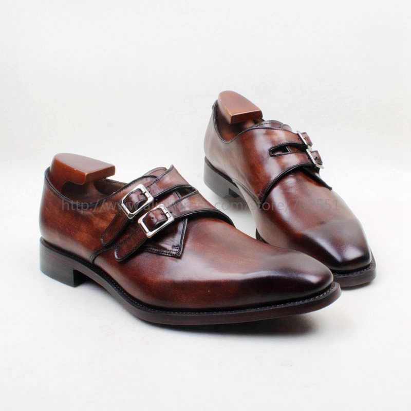 cie Square Toe Hand-Painted Patina Brown Double Monk Strapls Buckle 100%Genuine Calf Leather Breathable Outsole Men Shoe MS142 cie round toe wing tips single monk straps hand painted brown 100%genuine calf leather breathable bottom outsole men shoems129