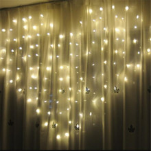 2*1.5m 124 LEDs Love Heart  Lights string AC220V Curtain Fairy Wedding Valentine\s Day Garland Decor