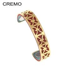 Cremo geometría brazaletes de oro hueco de acero inoxidable pulsera y brazalete Joyeria Mujer cuero intercambiables pulsera ajustable