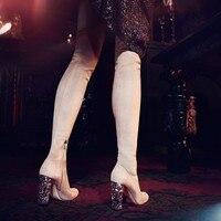 2018 Горячие весенне осенняя обувь женские высокие сапоги до бедра замшевые ботфорты с боковой молнией на высоком каблуке для подиума женски