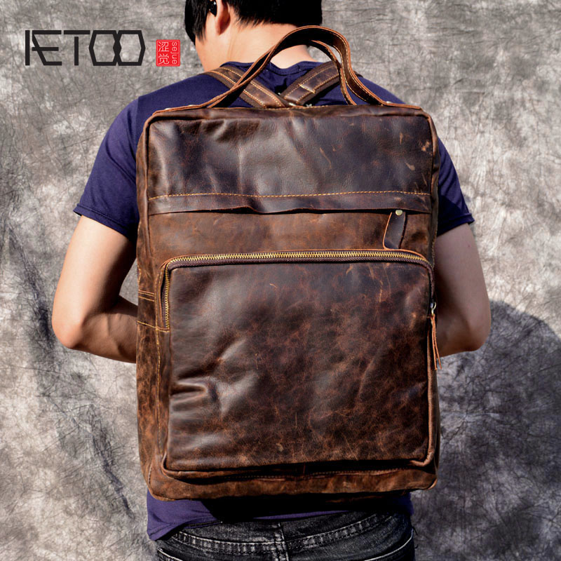 AETOO Leather backpack men's first layer leather simple casual shoulder bag men's large capacity fashion trend travel backpack aetoo retro shoulder bag genuine handmade men women casual travel backpack large capacity first layer leather