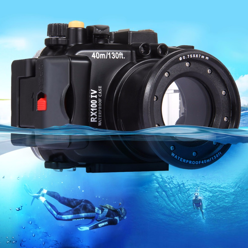 PULUZ 40m Underwater Depth Diving Case Waterproof Camera Housing for Sony RX100 IV 40m 130ft waterproof underwater camera housing diving case cover for sony dsc rx100 iv rx100 m4 rx100 mark4 dhl free shipping