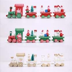 Мини деревянный поезд детский подарок на Рождество Санта Клаус Снеговик украшения вечерние Вечеринка Рождество детский сад украшения