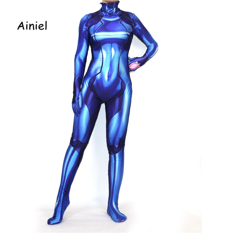 Ainiel Kids Women Samus Zero Cosplay Costume  Blue Superhero Halloween Costume 3D Printing Lycra Zentai Jumpsuit Bodysuit Girls
