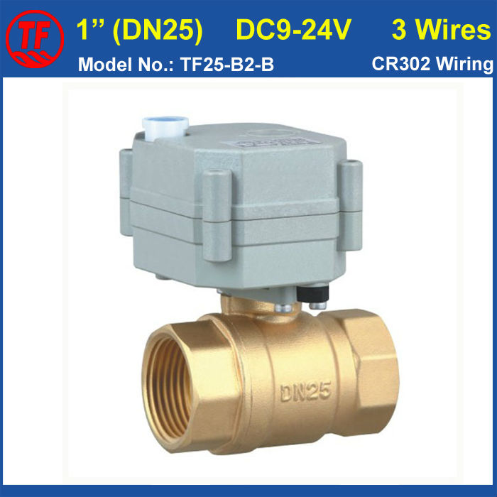 TF25-B2-B BSP/NPT Brass DN25 (1) Electric Motorized Ball Valve With Manual Override DC9-24V 3 Wires For HVAC Water Application mini brass ball valve panel mountable 450psi with lever handle chrome plated malexfemale npt