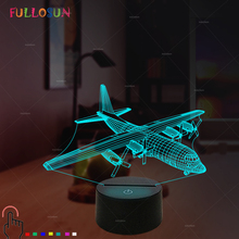 Airplane 3D Desk Table Lamp 7 Color Optical Illusion Night Light for Home Living Room Decor