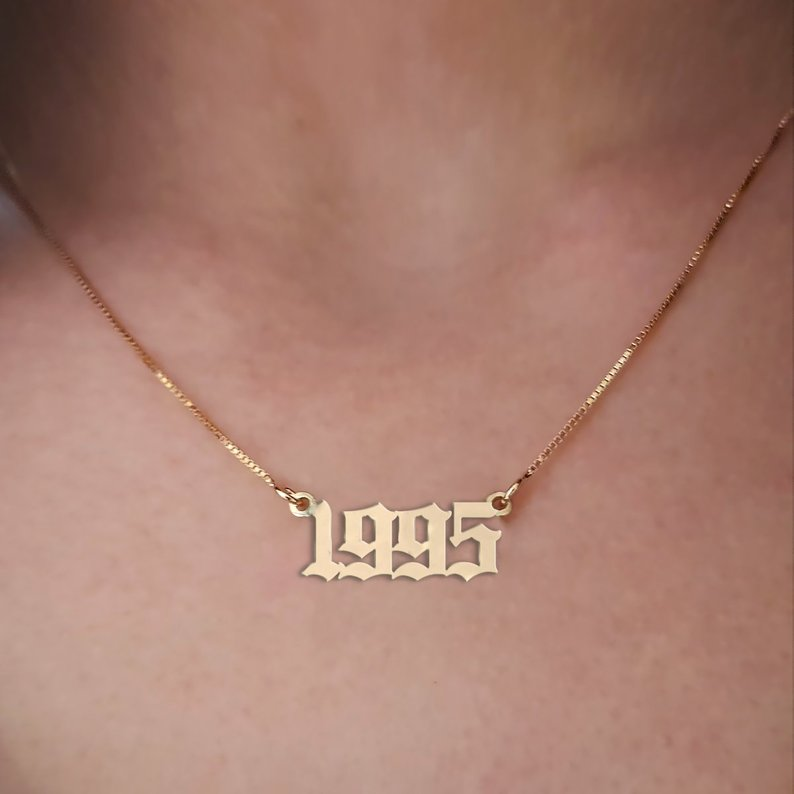 Personalised Birth Year Necklace Pendant DOB YOB High Quality UK Made 316 Steel