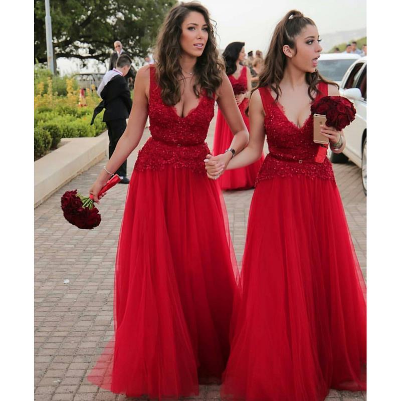 Red V Neck   Bridesmaids     Dresses   2019 robe demoiselle d'honneur A Line Applique Tulle Wedding Guest   Dress   Maid Of Honor Gowns