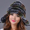 2016 New Genuine Rabbit Fur Hats For Women Knitted Striped Girl Winter Warm Pom Pom Beanie Hat Real Fur Hats Cap with Long Strap