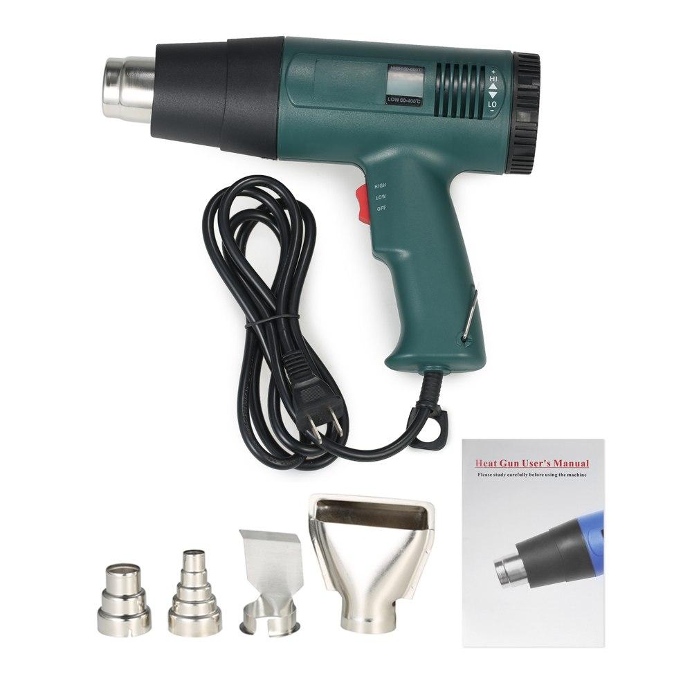 Digital de Temperatura Pistola de Ar Quente-secador de Cabelo secador de cabelo Arma ferramenta de construção De Solda Pistola de ar quente controlado com 4 pcs Bico 1800 W AC220V