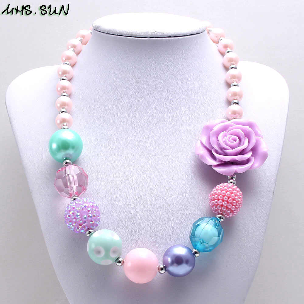 MHS.SUN Newest fashion baby flower beads necklace cute bubblegum chunky necklace for kids girls jewelry chain necklace 1pc