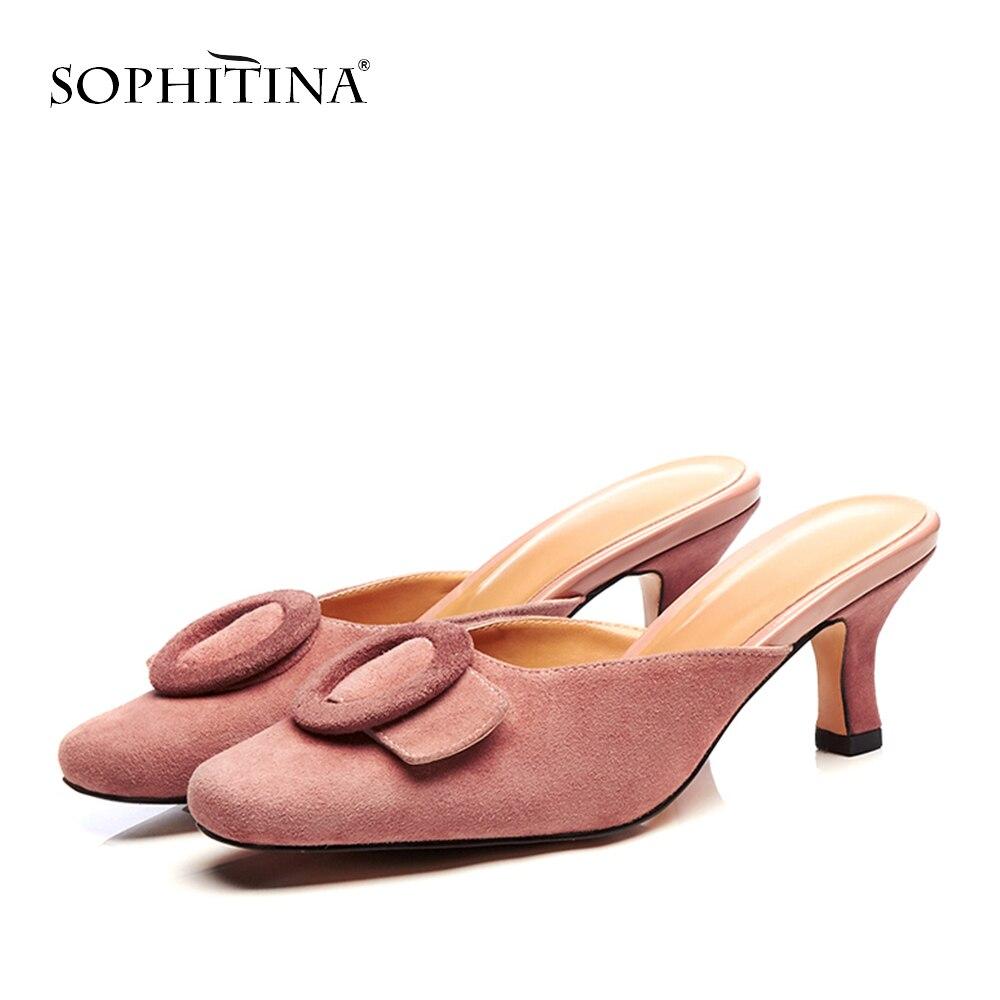 Sophitina 새로운 우아한 스퀘어 헤드 여성 슬리퍼 패션 여름 외부 appliques 신발 기본 얇은 발 뒤꿈치 숙 녀 슬리퍼 mo187-에서슬리퍼부터 신발 의  그룹 1