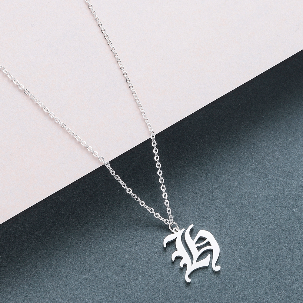 Todorova Old English Custom Capital Initial A-Z Letter Pendant Necklace Men Vintage Font Personalized Necklace Women Jewelry 24