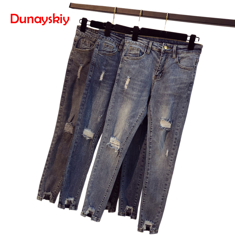 New 2019 Ultra Stretchy Blue Tassel Ripped   Jeans   Woman Denim Pants Trousers For Women Pencil Skinny   Jeans   Plus Size S-5XL