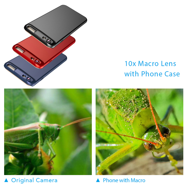 APEXEL New 10X super macro lens micro phone camera lens kit with back case For iPhone 6 6s plus 7/8 5