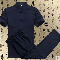 Chinese Vintage Men's Cotton Linen Suit Kungfu Sets Mandarin Collar Kung Fu Uniform Suit S M L XL XXL XXXL