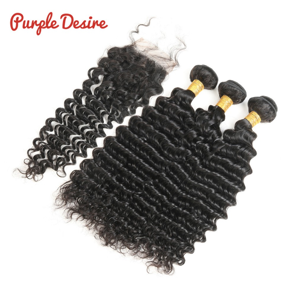 Peruvian Deep Wave Hair 3 Bundles with Lace Closure 100 Human Hair Weave Bundles with Closure