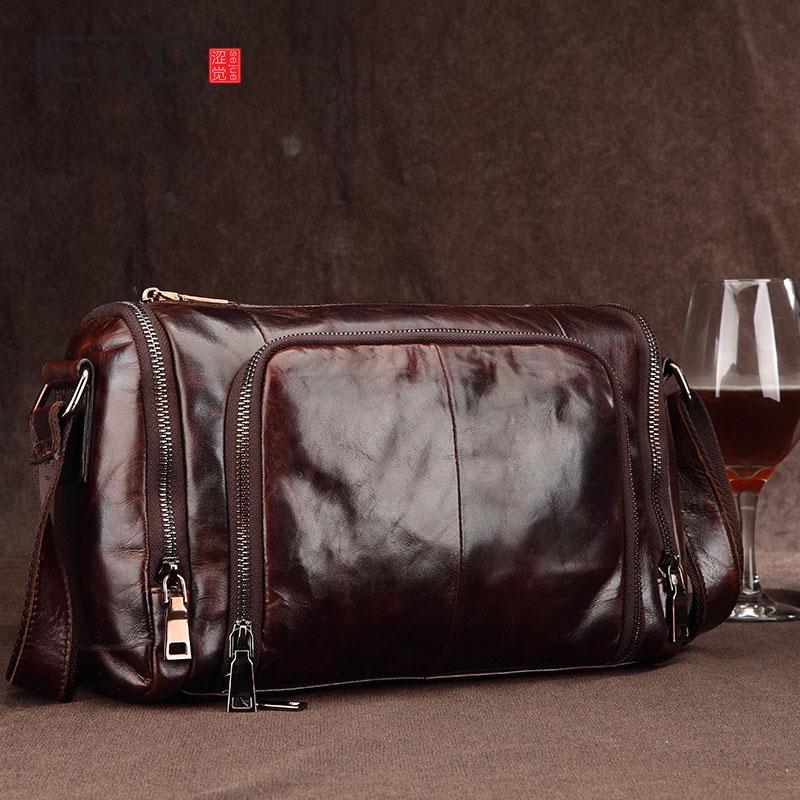 AETOO men s leather shoulder bag Messenger bag retro oil wax leather man bag business casual