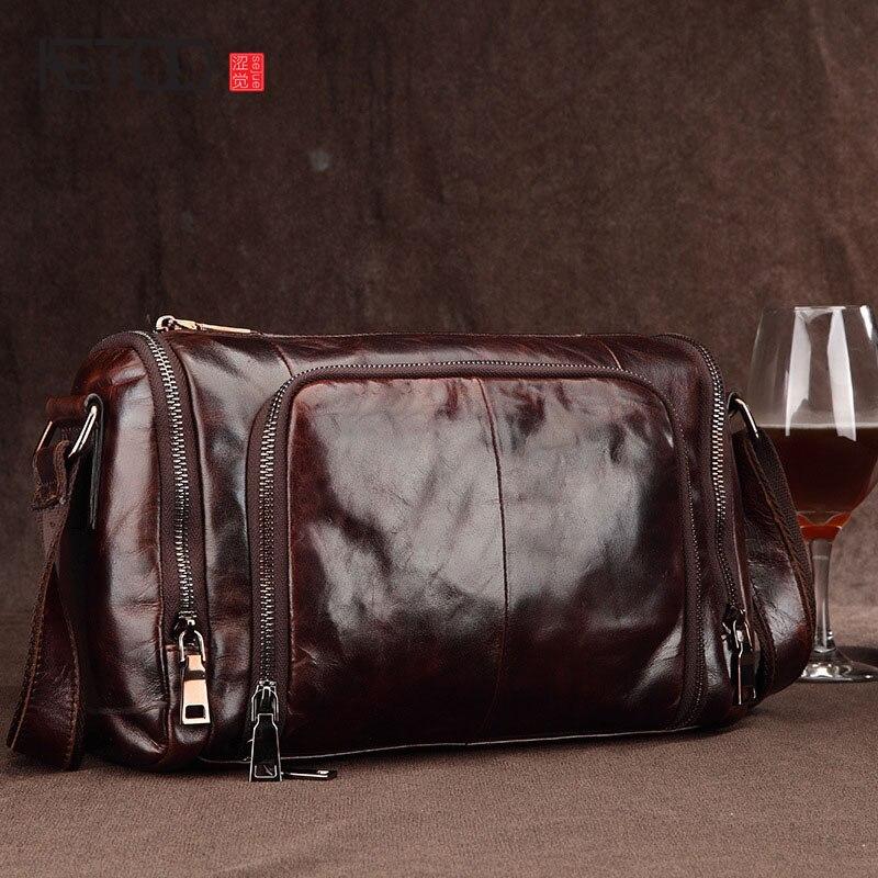 AETOO męska skórzana torba na ramię Messenger torba w stylu retro wosk z oliwek skóra torba człowiek biznesu na co dzień cylindryczne pakiet hurtownia w Torby z uchwytem od Bagaże i torby na  Grupa 1