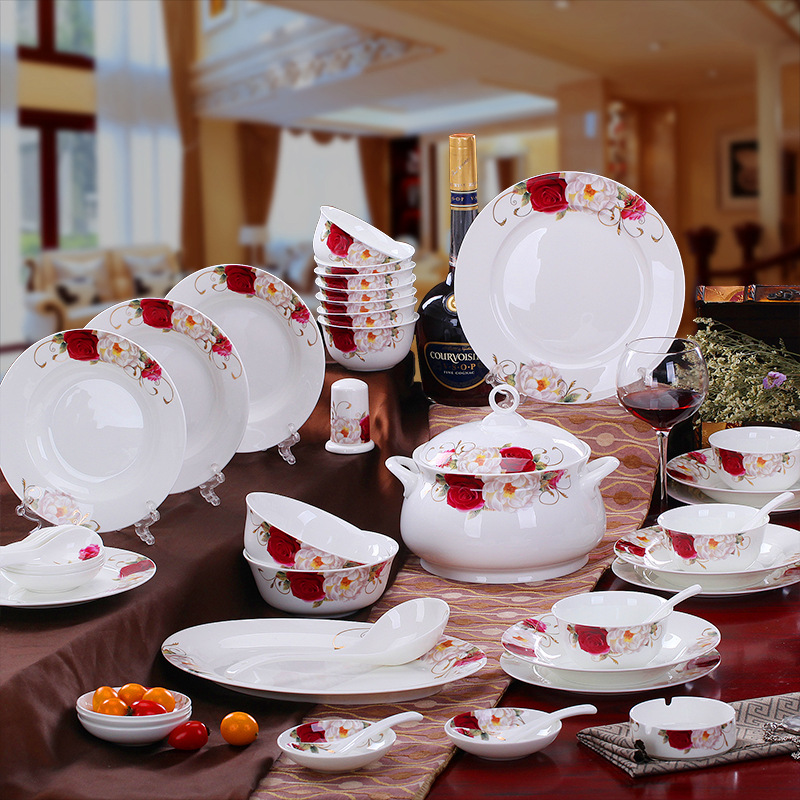 Fashion Red/White Rose Flower Bone China Dinnerware Sets of 52 with Coffee/Tea Sets of 21 For 6 Persons DIY Porcelain Tableware-in Dinnerware Sets from Home ... & Fashion Red/White Rose Flower Bone China Dinnerware Sets of 52 with ...