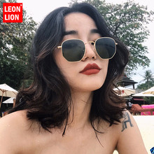 LeonLion Metal Square Frame Brand Designer Sunglasses Women Vintage Reflective Glasses For Men Mirror Classic Small Face