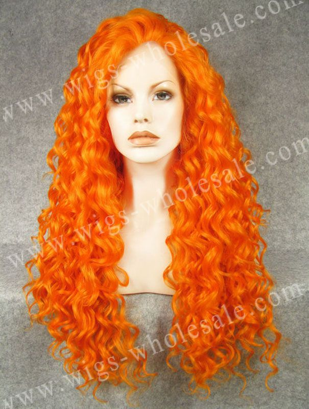 ФОТО Drag Queen Celebrity Synthetic Wigs Long Curly Orange Lace Front Wigs