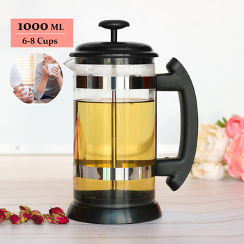 French Press Coffee/Tea Brewer Coffee Pot Coffee Maker Kettle 1000ML Stainless Steel Glass Thermos Barista Tools Coffee Carafe