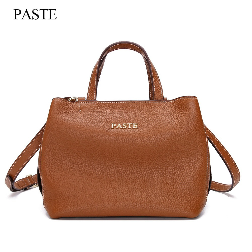 Famous brand women tote bag handbag quality genuine cow leather ladies shoulder bag PASTE vintage female messenger/crossbody bag 2017 luxury brand women handbag oil wax leather vintage casual tote large capacity shoulder bag big ladies messenger bag bolsa
