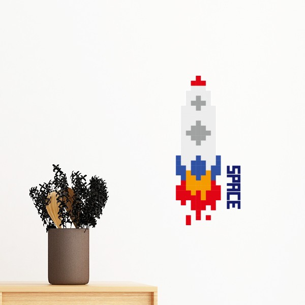 Space Ship Rocket Fire Universe Pixel Removable Wall