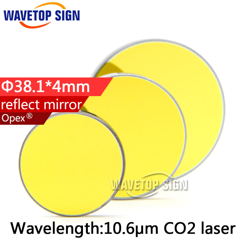 High Quality Si reflect mirror Diameter 38.1mm Thickness 4mm Coated Gold for CO2 Laser Engraving Cutting Machine
