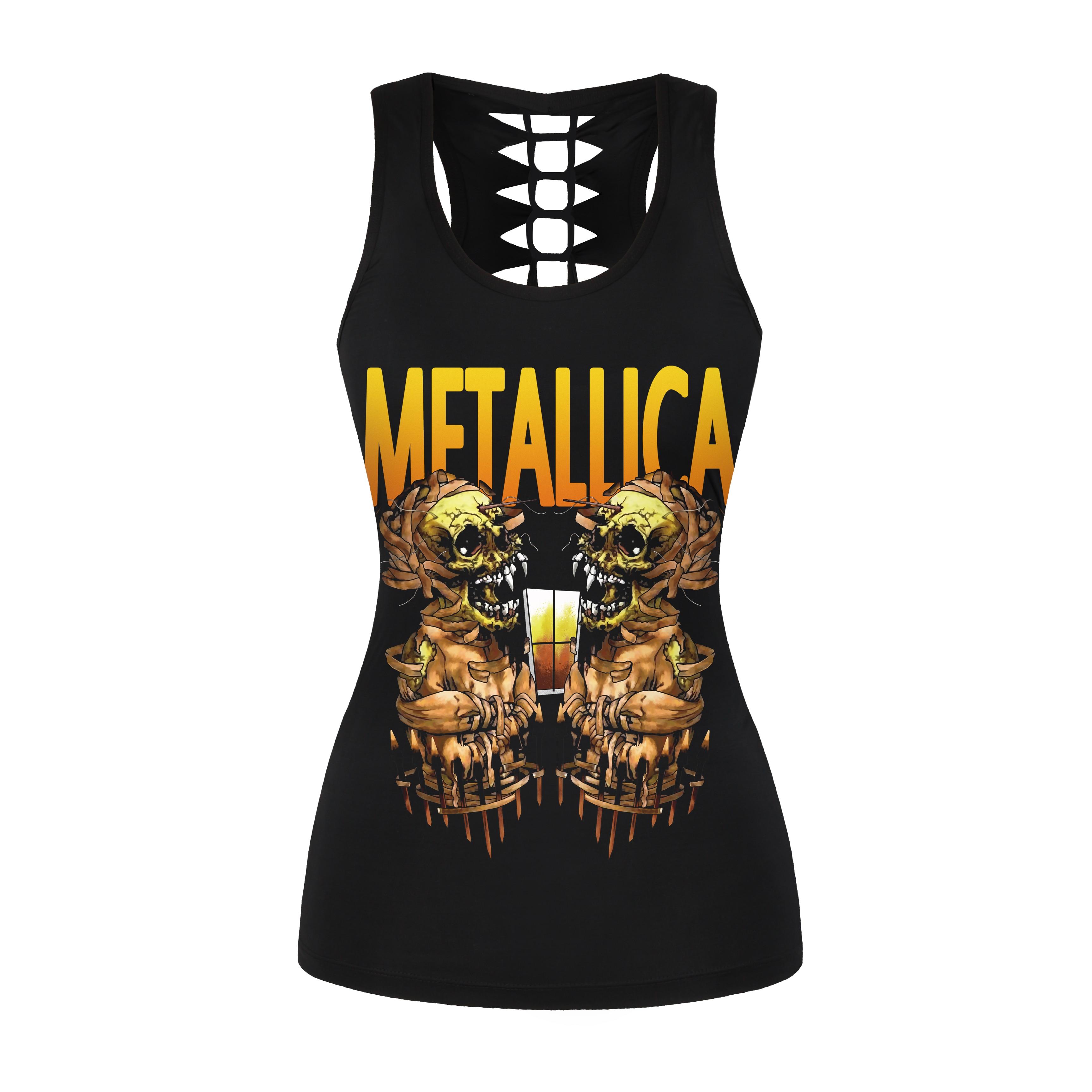 Skeleton Playing Card Women/'s Vest Tank Top Biker Goth T-Shirt