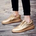 2016 Дизайнер Глянцевая Золото Мужчины Повседневная Обувь Мода Дышащая Открытый шнуровке Pu Кожа Мужчины Обувь Zapatillas Хомбре