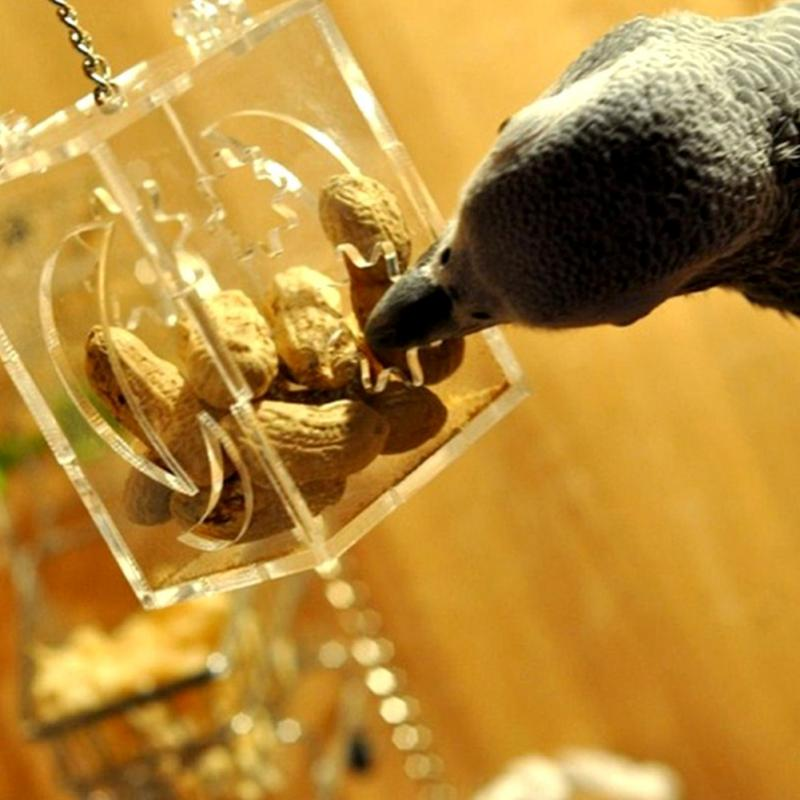Pet Birds Toy Parrot Bird Cage Feeder Hang Foraging Toys Pet Treat Hunt Macaw Cockatoo Acrylic Material Bird Toys