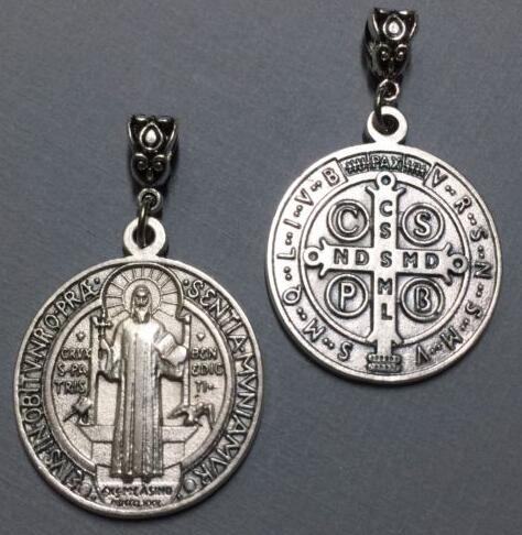 Vintage Silver Saint Benedict Medal Cross Cristo Redentor Catholicism Pendants Charms Dangle For Bracelet Jewelry Making NEW
