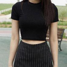 Femmes D'été Tee-Shirts Manches Courtes Col Rond Slim Fit pullover décontracté Récolte hauts Camisa Mujer