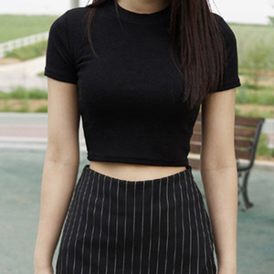 Women Summer T-shirts Short Sleeves Round Neck Slim Fit Casual Pullover Crop Tops Camisa Mujer