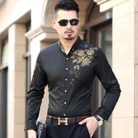 7xl Plus Size Shirt Men Long Sleeve Flower Shirt Men Chemise Manche Longue Homme Casual Business Formal Dress Shirt Men Oversize