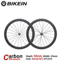 BIKEIN 1 Set Racing Tubular Clincher 3k Carbon Road Bike WheelSets 700C 50mm Depth Rim Cycling