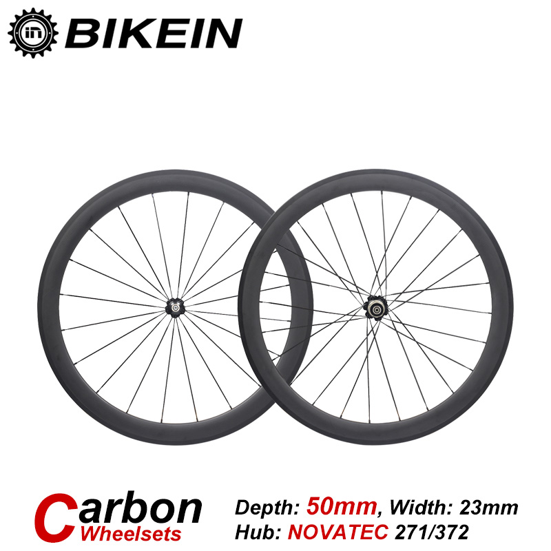 BIKEIN 1 Set Racing Tubular Clincher 3k Carbon Road Bike WheelSets 700C 50mm Depth Rim Cycling Ultralight Wheels Bicycle Parts