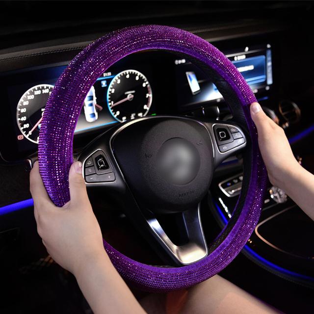 De lujo de cristal rojo púrpura de volante de coche cubiertas las mujeres Diamante de diamantes de imitación de coche rojo cubierta de volante-Accesorios de ruedas