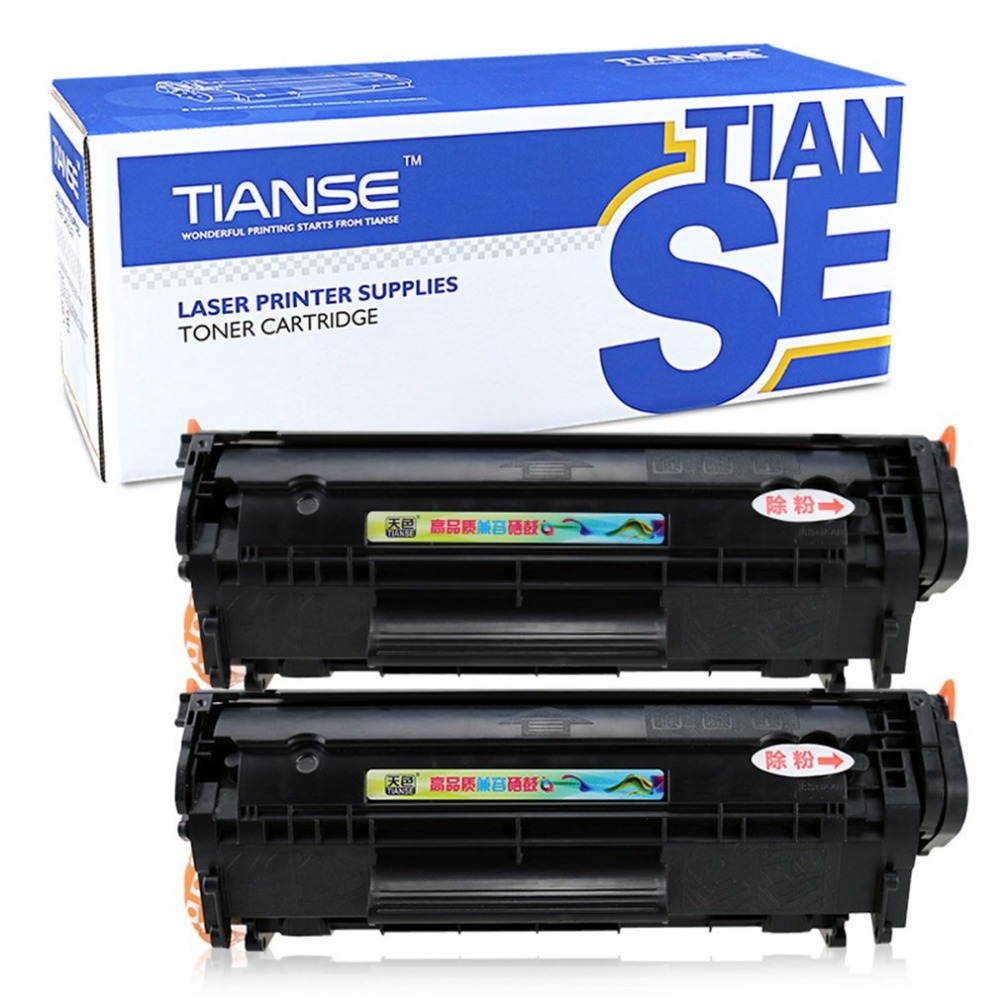 TIANSE 2pcs 12A Toner Cartridge Compatible Inkjet Cartridge Replacement for HP 1020 M1005 MFP Laserjet replacement toner cartridge for epson m1400 mx14
