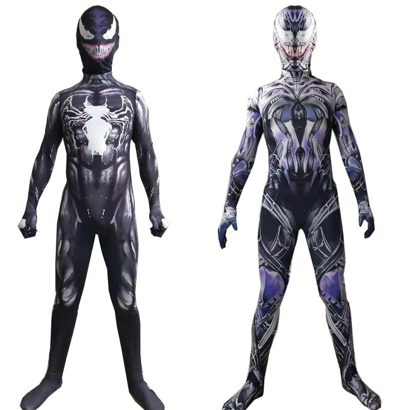 Человек-паук Веном Symbiote супер костюм героя косплэй взрослый ребенок на Хэллоуин карнавальный вечерние Облегающий комбинезон набор маска