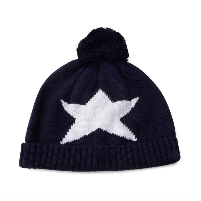 6c78ad08cd025 3Pcs Kids Boys Navy Blue Star Print Children Winter knitted Hat Scarf Glove  Set-in Scarf