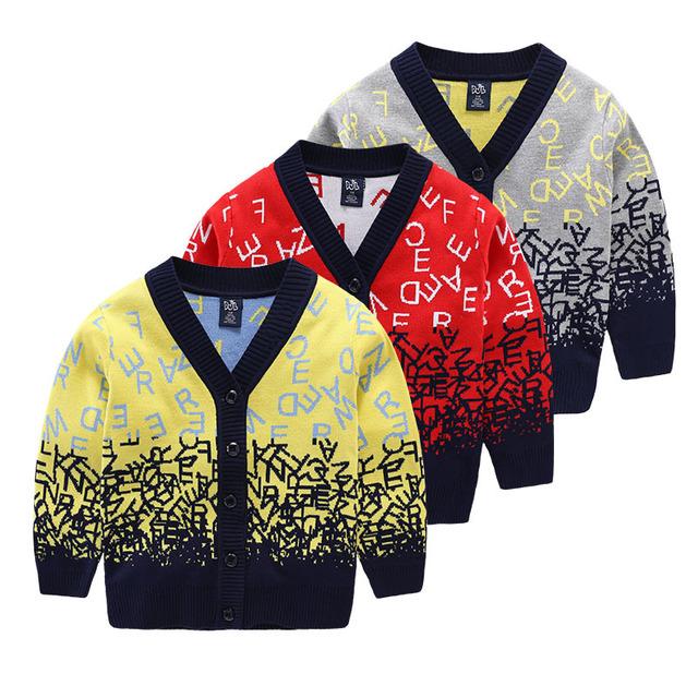 Chegada nova do Menino do Inverno Camisola de Decote Em V Cardigan Meninos de Lã Malhas Sweatercoat Crianças Impressos de Alta Qualidade Roupa Das Crianças