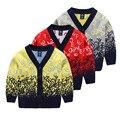 Nueva Llegada de Niño de Invierno Con Cuello En V Suéter Cardigan Niños Sweatercoat Niños de Alta Calidad de Lana Impreso Géneros de punto Ropa de Niños